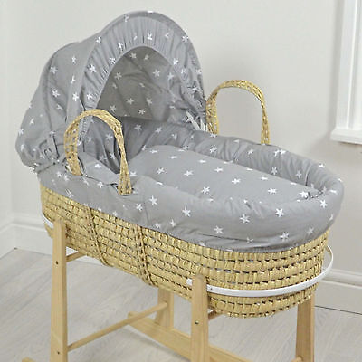 New 4Baby Grey / White Stars Natural Palm Deluxe Baby Moses Basket & Mattress