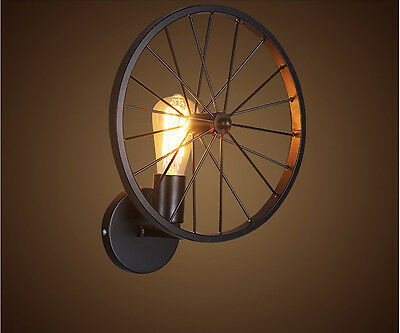 INDUSTRIAL IRON WHEEL LAMP SHADE Vintage Retro CEILING Wall Light LED FITTING
