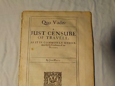 Antique 1641 QUO VADIS ? & THE RIGHTEOUS MAMMON by JOSHUA HALL  Booklets #A28