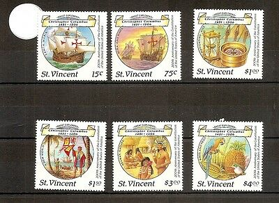 St Vincent 1988 SG1125-1130 6vNHM Columbus 500th/200th Anniv of US Constitution