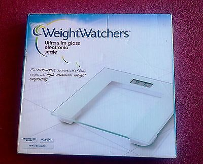 Weight Watchers 8928U Slim White Glass Electronic Bathroom Scale Weighing Scales
