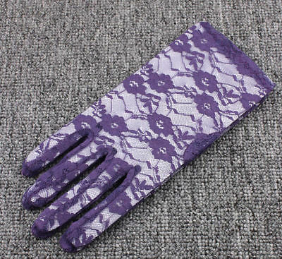 Wedding Bridal Gloves Accessories Short Purple Wrist lace InStock