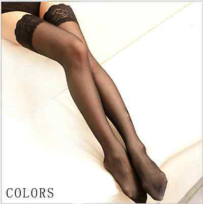 New Women Ladies Sheer Lace Thigh High Hold-ups Stockings Up