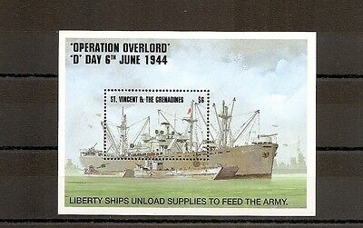 St Vincent 1994 SG2782ms Sheet DDay 50th Anniv-Liberty Ship Unloading Supplies