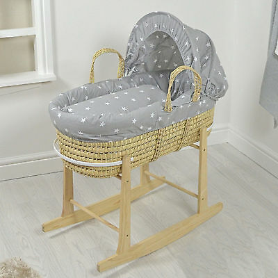 New 4Baby Grey White Stars Natural Palm Baby Moses Basket & Rocking Stand