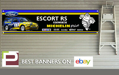 Ford Escort RS Cosworth Rally Michelin Pilot Logos Banner for Workshop / Garage,
