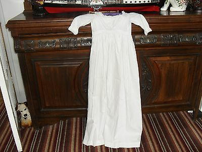 Vintage Christening/night Gown Long White Cotton Robe With Some Smocking