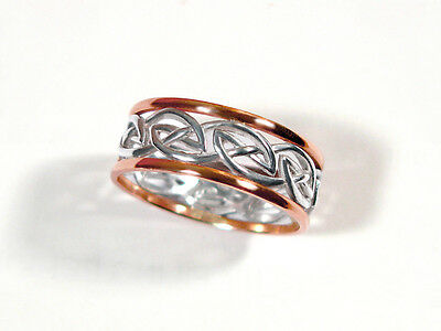 Celtic eternity knot ring in 10kt rosegold /sterling silver. One only in size 11