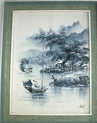 Original Oil Paintings Oriental Chinese Junk Harbour Scene Pair Blue White