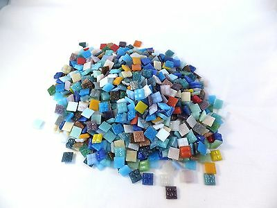 """Lot of Vitreous glass tiles mosaic mixed colors 3/8"""" or 9-10 mm square 1.2 lbs"""