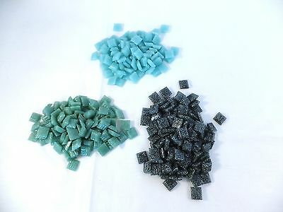 """Lot of Vitreous glass tiles mosaic small 3/8"""" sq. In 3 shades of blue & green"""