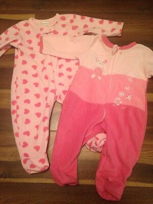 2 X Baby Girl 12-18 Months Sleep Suits