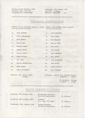 Crystal Palace reserves v QPR Queens Park Rangers 1972 1971/72 A4 single sheet