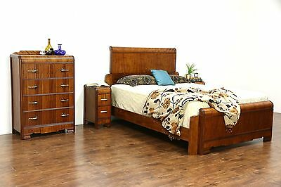 Art Deco Waterfall 1930's Vintage 4 Pc. Bedroom Set, Queen Size Bed