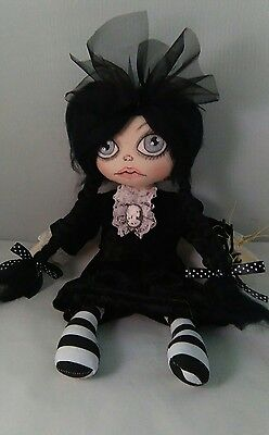 Handmade, Cloth Rag Doll, Wednesday, 14 Inc, OOAK, Collectable by Bianca