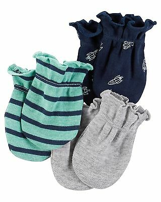 New Carter's 3 Pack Baby Mittens size 0-3 months NWT 100% Cotton Boys Space Gray