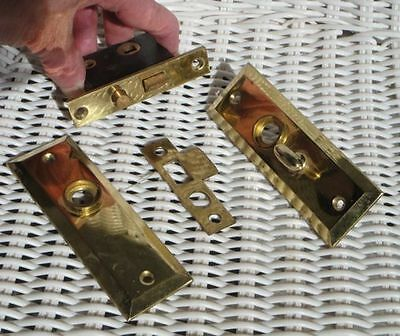 Possibly VINTAGE to ANTIQUE Small Mortise BRASS Door Lock Set--STILL SHINY!!
