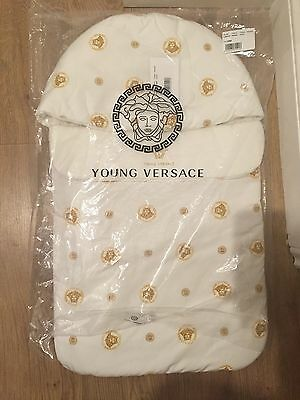 YOUNG VERSACE Ivory & Gold Medusa Baby Nest (74cm) Sleeping Bag Unisex £225