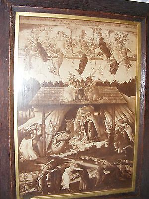 Antique Print Engraving Of The Nativity Latin Script Very Early Style Oak Frame