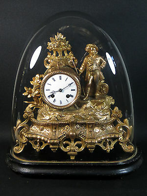 Antique 19th Century French Gilt Figural Mantel Clock w/ Glass Dome Stand