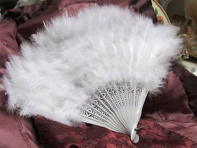 "FOLDING FAN~WHITE FEATHERS~PLASTIC~DESIGNS~15"" WIDE~Shabby~Cottage~Chic~Costume"