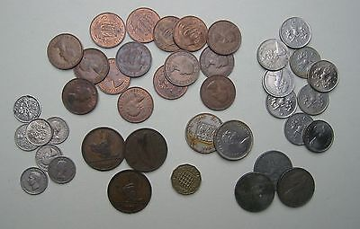 JOB LOT MAINLY BRITISH COINS + IRELAND + JERSEY Half Penny Sixpence Old 5p & 10p