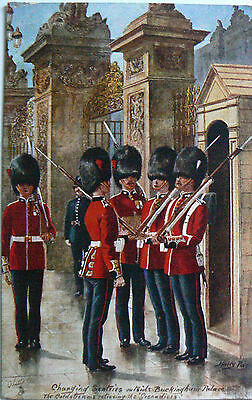Postcard-Royalty-Coldstream Guards.changing The Guard.tuck's.artist Harry Payne