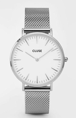 Men's Watch CLUSE Classy Sleek Stainless Steel Homme Black Silver FREE SHIPPING