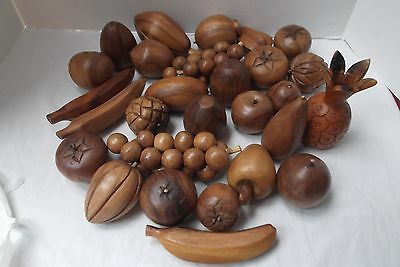 vtg lot of 38 pieces of wood wooden fruit banana grapes pineapple hand carved