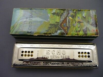 "M. Hohner Germany ""The Echo Harp"" Harmonica 55/80 Key CG BELL METAL REEDS w/Box"