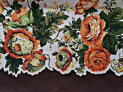 Vintage Floral Art Roses Brown Orange Yellow Green Cotton Tablecloth