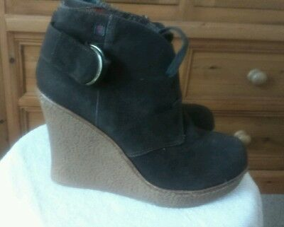 Rock and Candy size 5 wedge brown suede boots