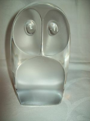 Solid Glass Owl Paperweight / Figure /