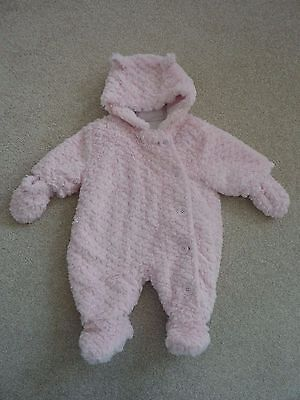 Gorgeous Baby Girl's Soft Furry Pink Snowsuit from George at Asda Size Newborn
