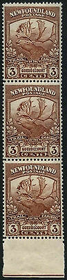 Newfoundland 1919 SG#132, 3c Brown Caribou MNH Strip Of 3 #D44684