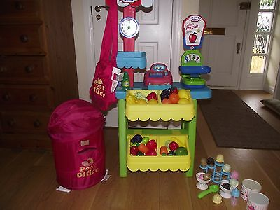 Toy shop + items to sell, ice cream set, post box and bag EX CONDITION
