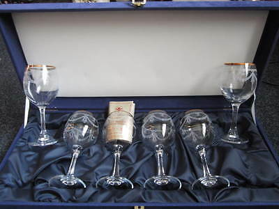 6 x Crystal cut Glasses with box