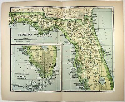 Original 1902 Map of Florida by Dodd Mead & Company