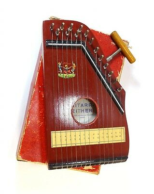 Vintage Small Child Harp Zither with Box and Key