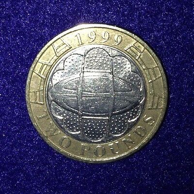1 x 1999 - Rugby World Cup Great Britain (GB) Commemorative £2.00 Two Pound Coin