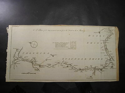 c1771 Gents Magazine  Canal Map Grand Canal from the Trent to the Mersey (P3)