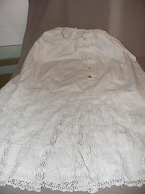 Antique Victorian Or Edwardian Cotton And Cotton Lace Half Petticoat Lovely Cond