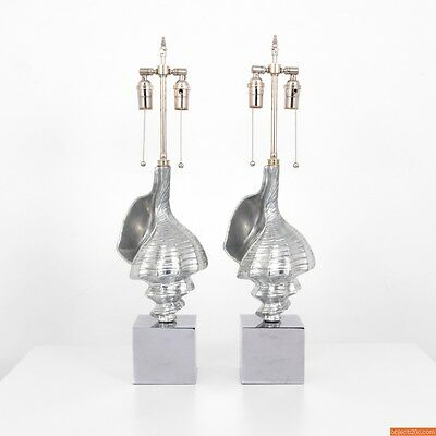 Pair of Shell Table Lamps, Manner of Arthur Court (Beaux Arts, Home Decor)