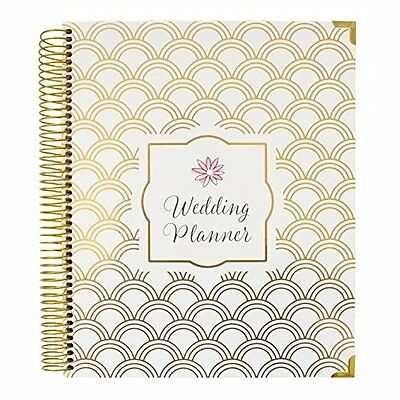 Luxury Undated Wedding Planner & Organizer Hard Cover Gold Foil Scallops Elegant