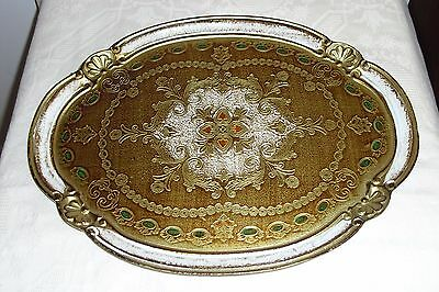 Vintage Italian Sorrento Ware Oval Wooden Tray Painted Gold With Clear Laquer