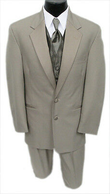 Mens Perry Ellis Champagne Jacket & Pant Set Tan Destination Wedding Khaki Suit