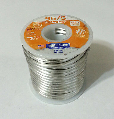 1lb Worthington 95/5 Solder-Safe Solder .118inch 3mm Dia. Lead Free 331760 -NEW-