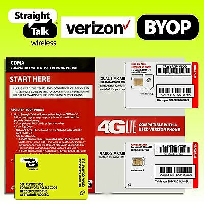 STRAIGHT TALK VERIZON SIM Card 4G LTE Activation Kit w/ Network Access for CDMA