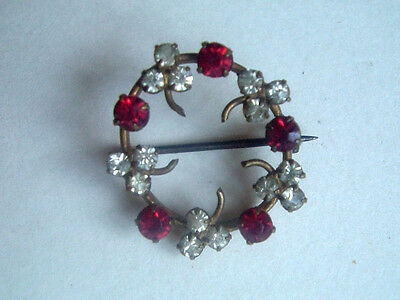 """VICTORIAN PASTE & RUBY COLOURED CLAW SET BROOCH 3/4"""" (2cm)"""