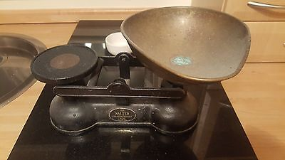 Black Balance Scale and Iron Weights With Copper Pan by Salter
